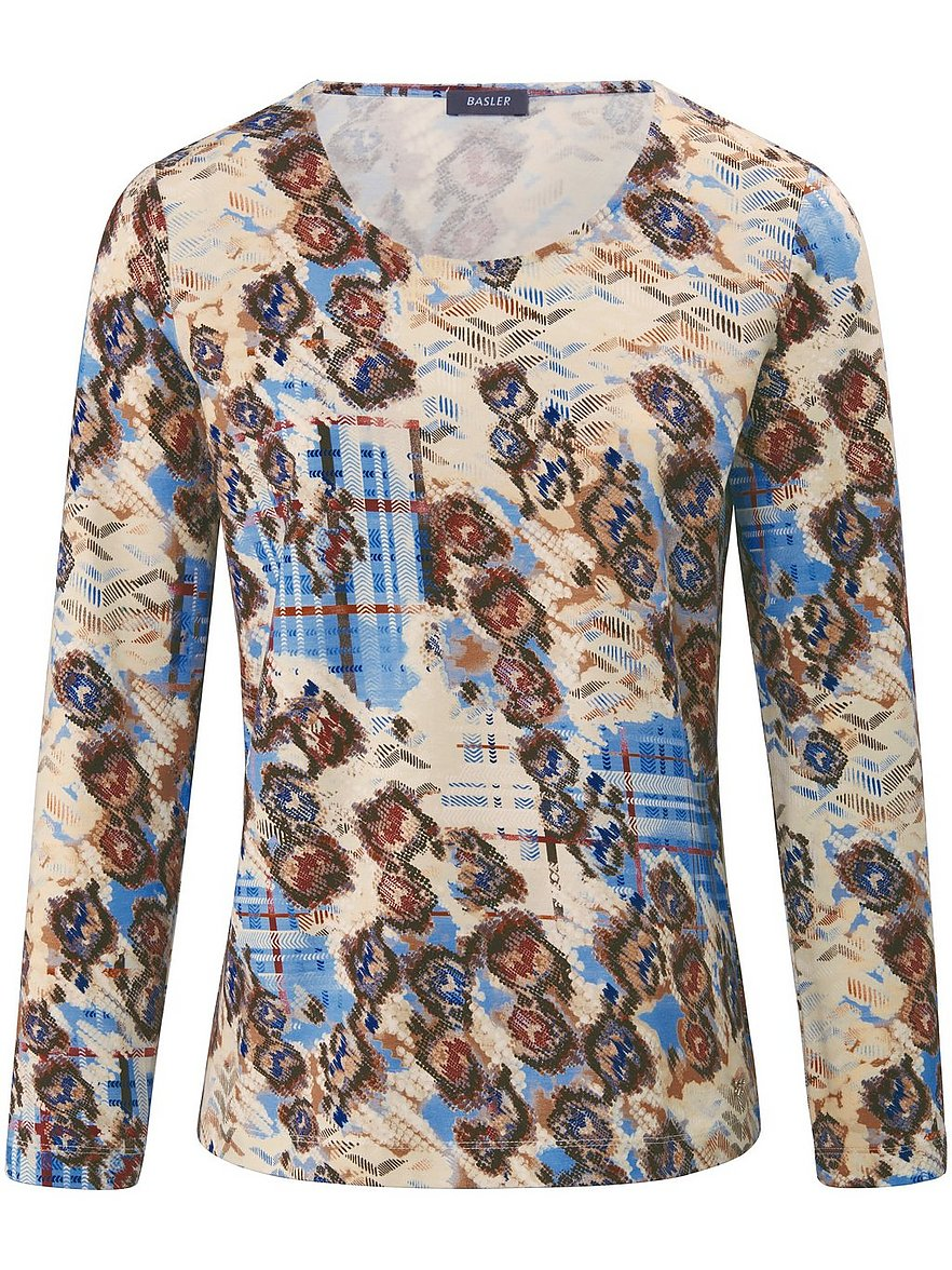 Artikel klicken und genauer betrachten! - Rundhals-Shirt von BASLER mit 1/1-Arm. Extra weich aus 47% Baumwolle, 47% Modal, 6% Elasthan mit attraktivem Print, durch den jedes Shirt zum Unikat wird. Länge ca. 62 cm. Dieses Rundhals-Shirt ist maschinenwaschbar. Normalwaschgang 30°. Chlorbleiche nicht möglich. Nicht heiß Bügeln. Reinigung P. Trocknen im Tumbler nicht möglich. Farbe: Multicolor. Erhältlich in den Größen: 36, 38, 42, 44, 48, 50, 52 | im Online Shop kaufen