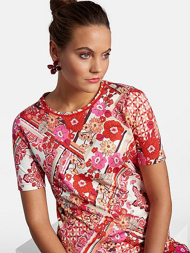 Basler - Round neck top with short sleeves and print