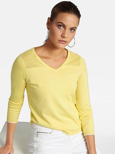 Basler - V-neck jumper with pointelle pattern