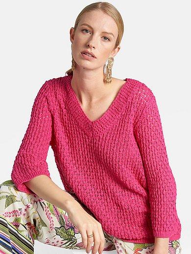 Basler - V-ringad tröja med 3/4-ärm i 100% bomull