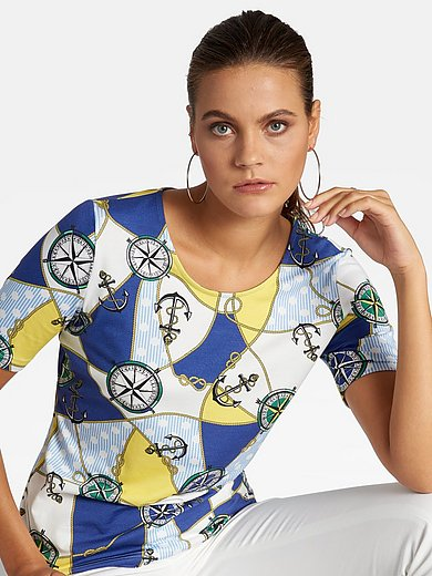 Basler - Jersey round neck top with nautical print