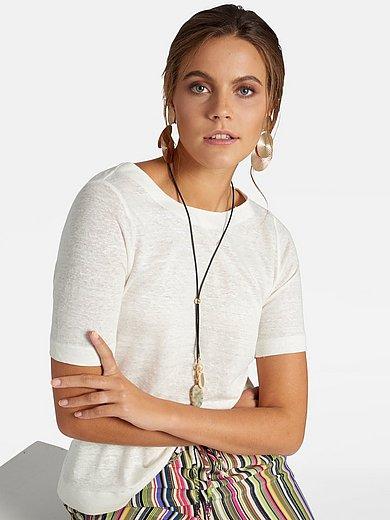 Basler - Shirt van 100% linnen met boothals en korte mouwen