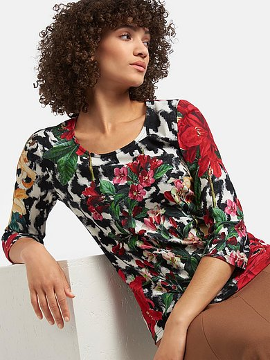 Efixelle - Round neck top with 3/4-length sleeves