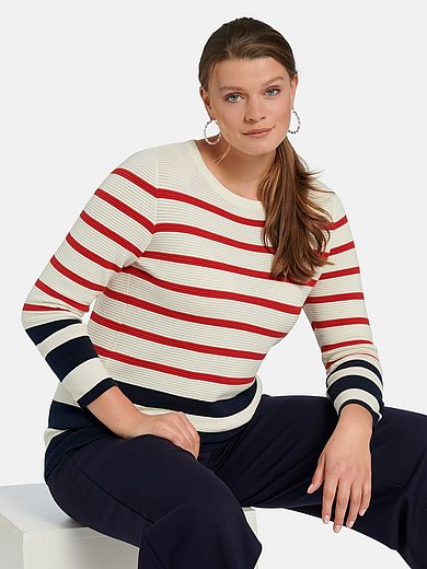 Emilia Lay - Long-sleeved round neck jumper in 100% cotton
