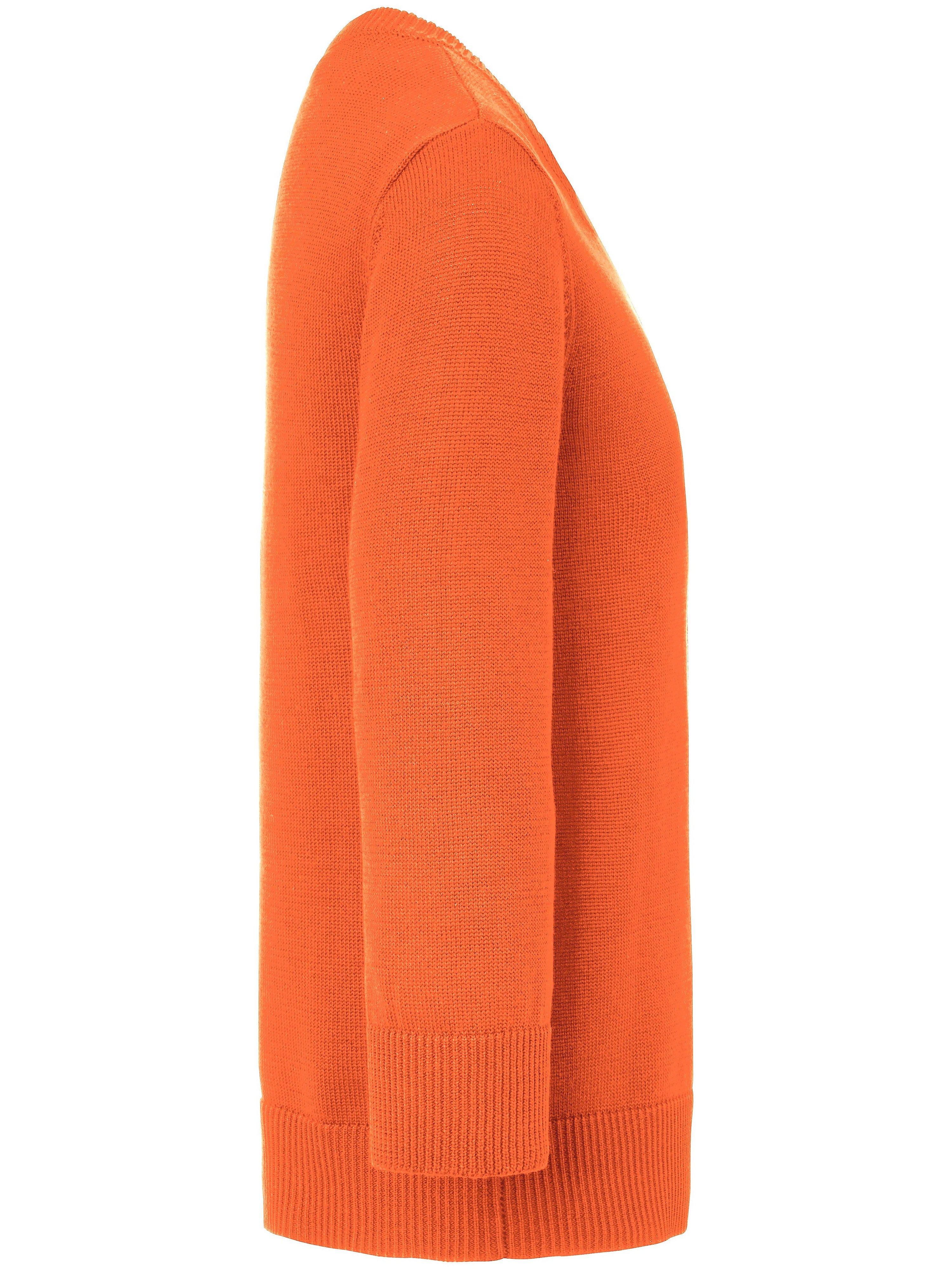 Strikbluse rund hals og lange ærmer Fra Peter Hahn orange