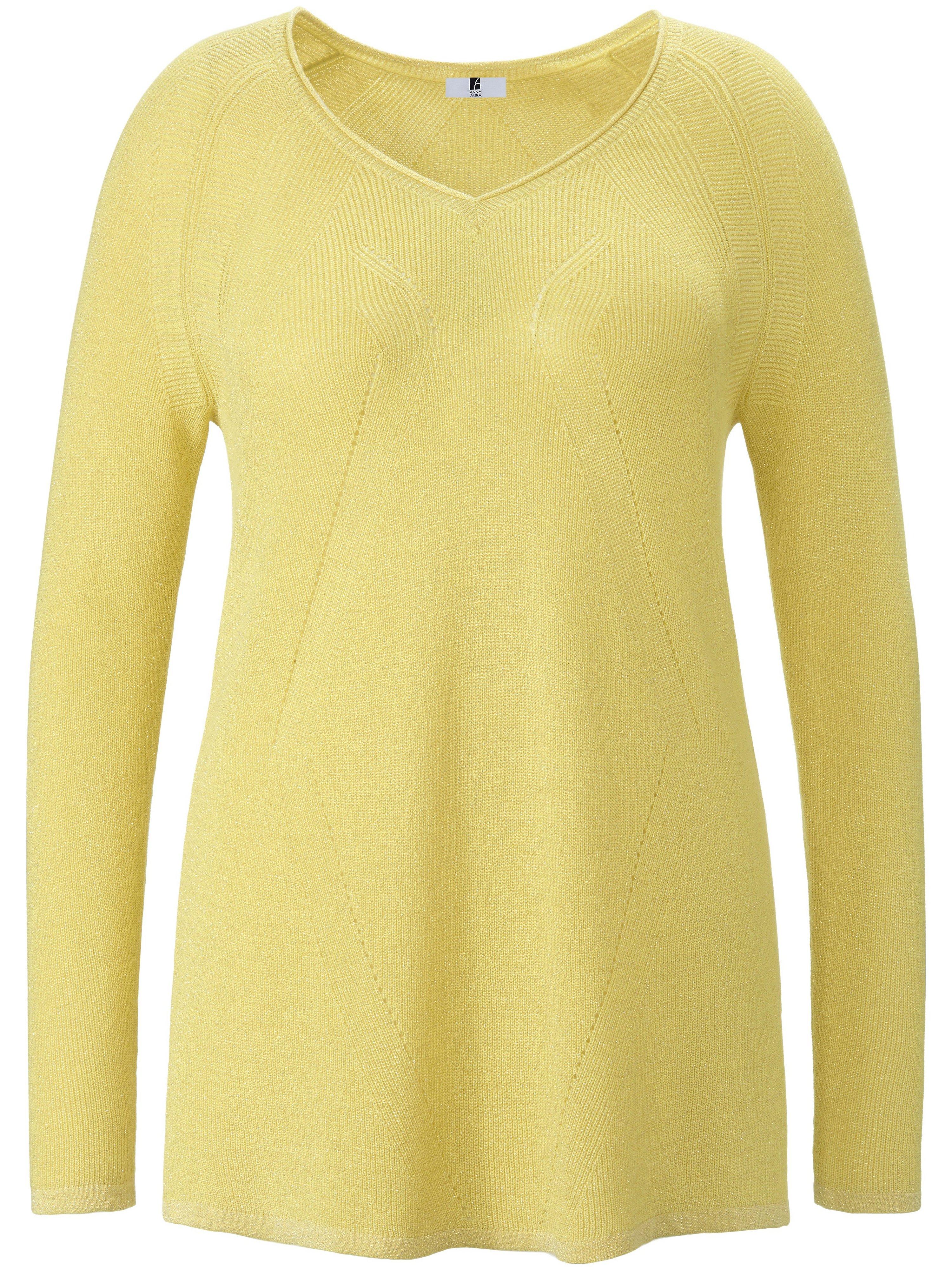 V-neck jumper long sleeves Anna Aura yellow