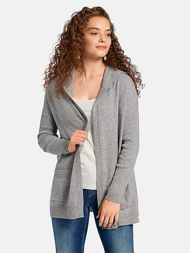 FLUFFY EARS - Open-front cardigan in 100% cashmere