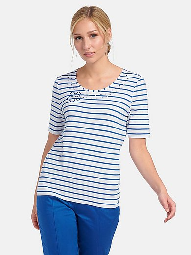 Basler - Striped round neck top with short sleeves