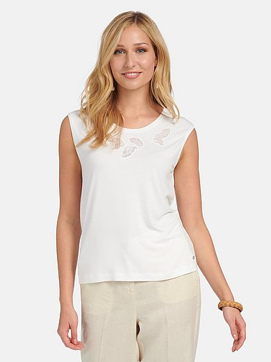 Basler - Round neck top with eyelet lace motif