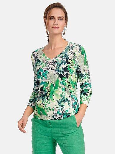 Basler - V-neck jumper with leaf and floral print