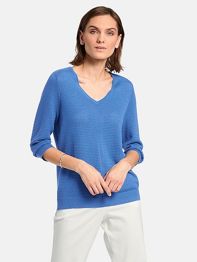 mayfair by Peter Hahn - V-neck jumper with 3/4-length sleeves