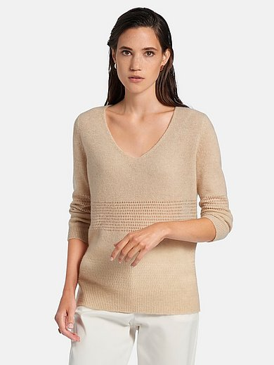 Peter Hahn Cashmere Nature - V-neck jumper in 100% cashmere
