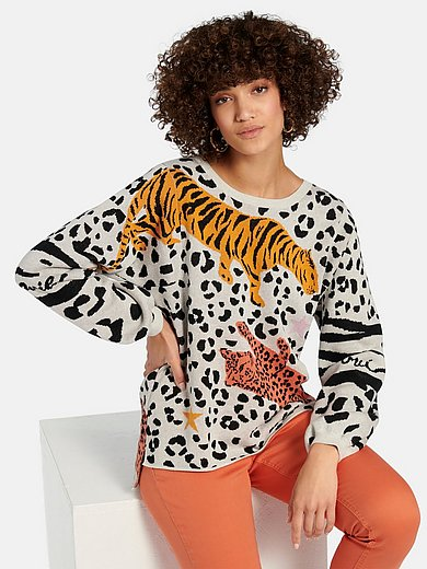 oui - Round neck jumper in 100% cotton