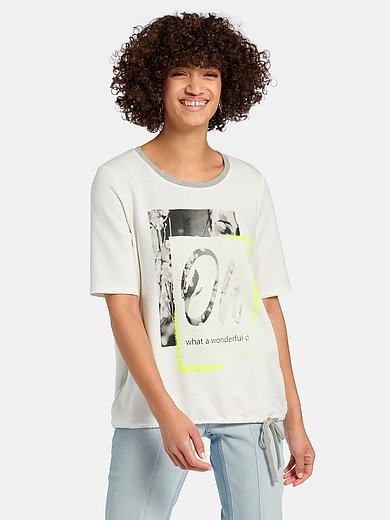 oui - Round neck top with short sleeves