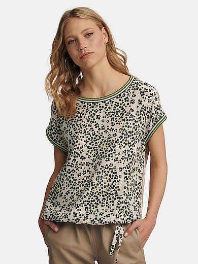 oui - Round neck top with leopard and zebra motifs