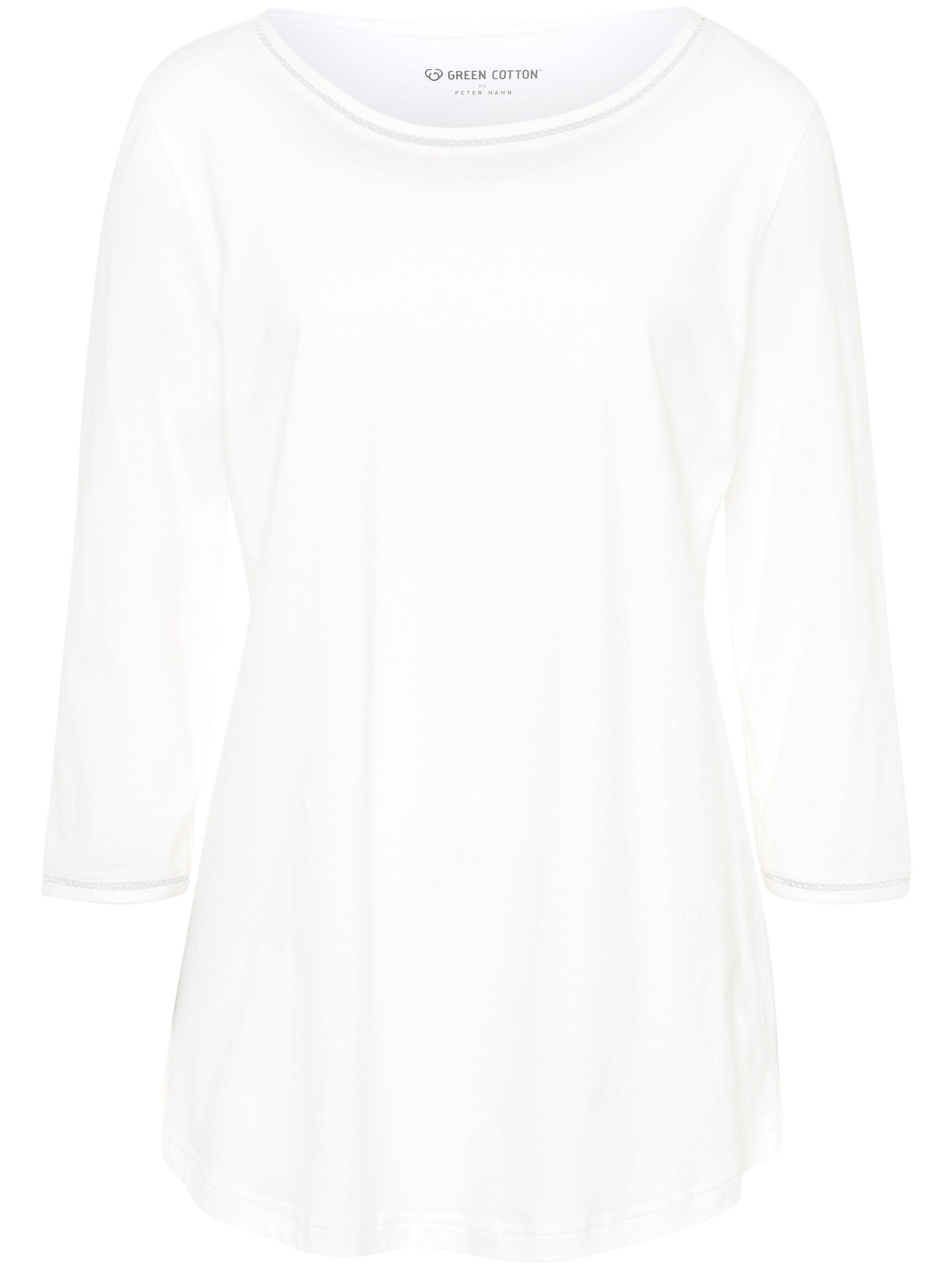 Round neck top in 100% cotton Green Cotton white