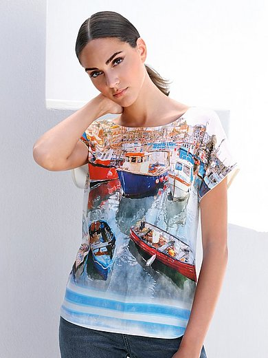MYBC - Rundhals-Shirt mit überschnittener Schulter