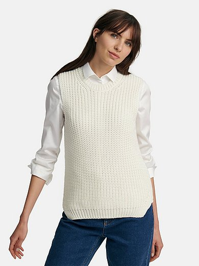 Peter Hahn - Sleeveless round neck jumper in chunky knit