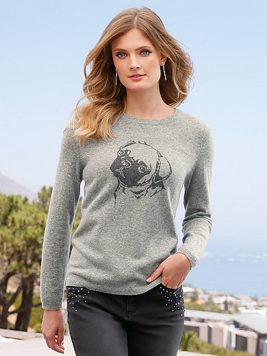 include - Round neck jumper on 100% cashmere
