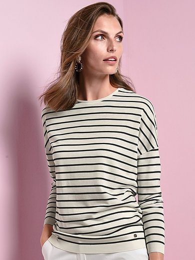 Windsor - Round neck top with drop shoulder and long sleeves