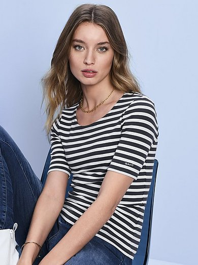 GANT - Striped round neck top with short sleeves