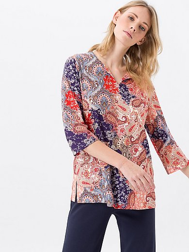 Green Cotton - Split neck top in 100% cotton with paisley print