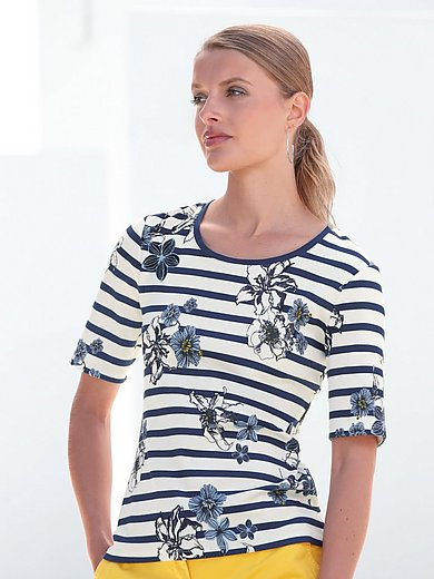 Betty Barclay - Round neck top with print of stripes and flowers