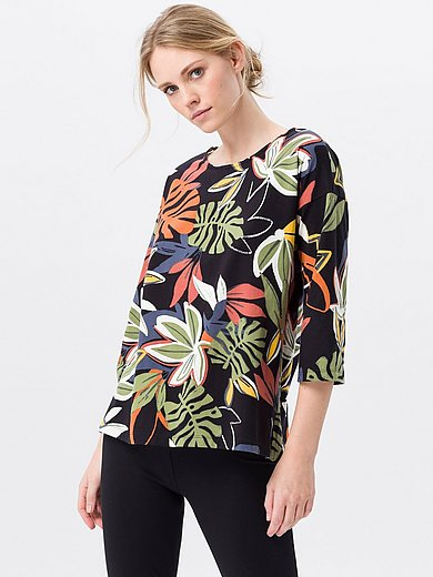 Green Cotton - Top in 100% cotton with leaf print