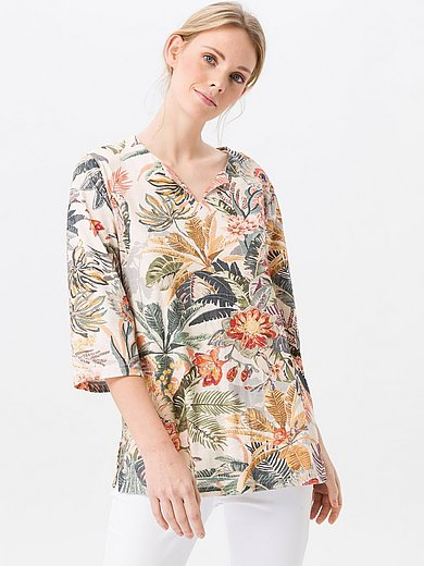 Green Cotton - Split neck top in 100% cotton with floral print