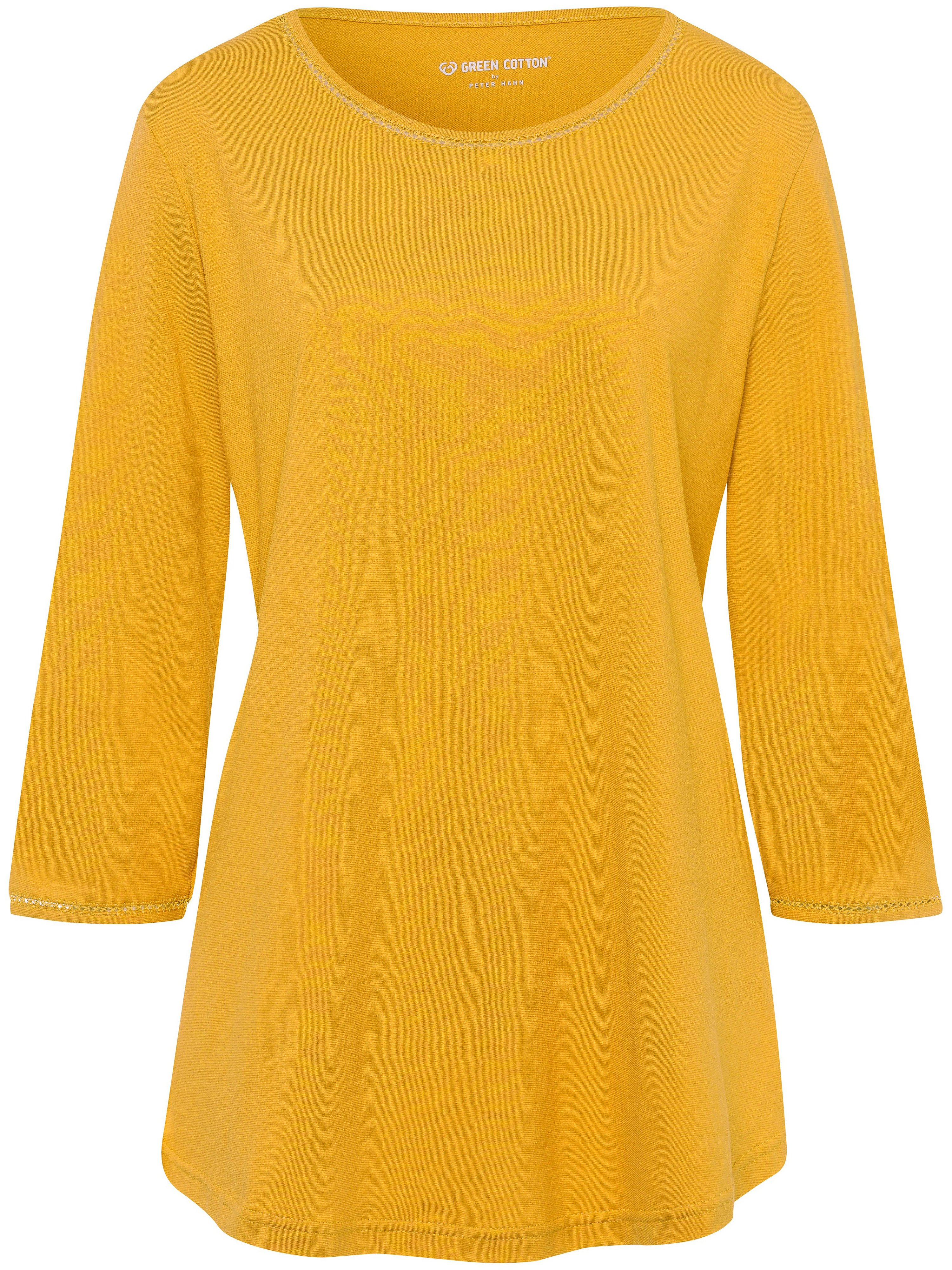 Round neck top in 100% cotton Green Cotton yellow
