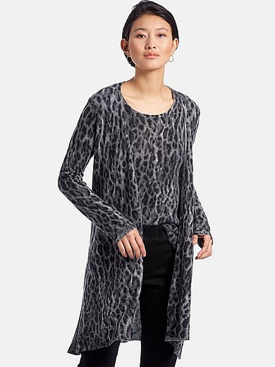 include - Longline cardigan with animal print