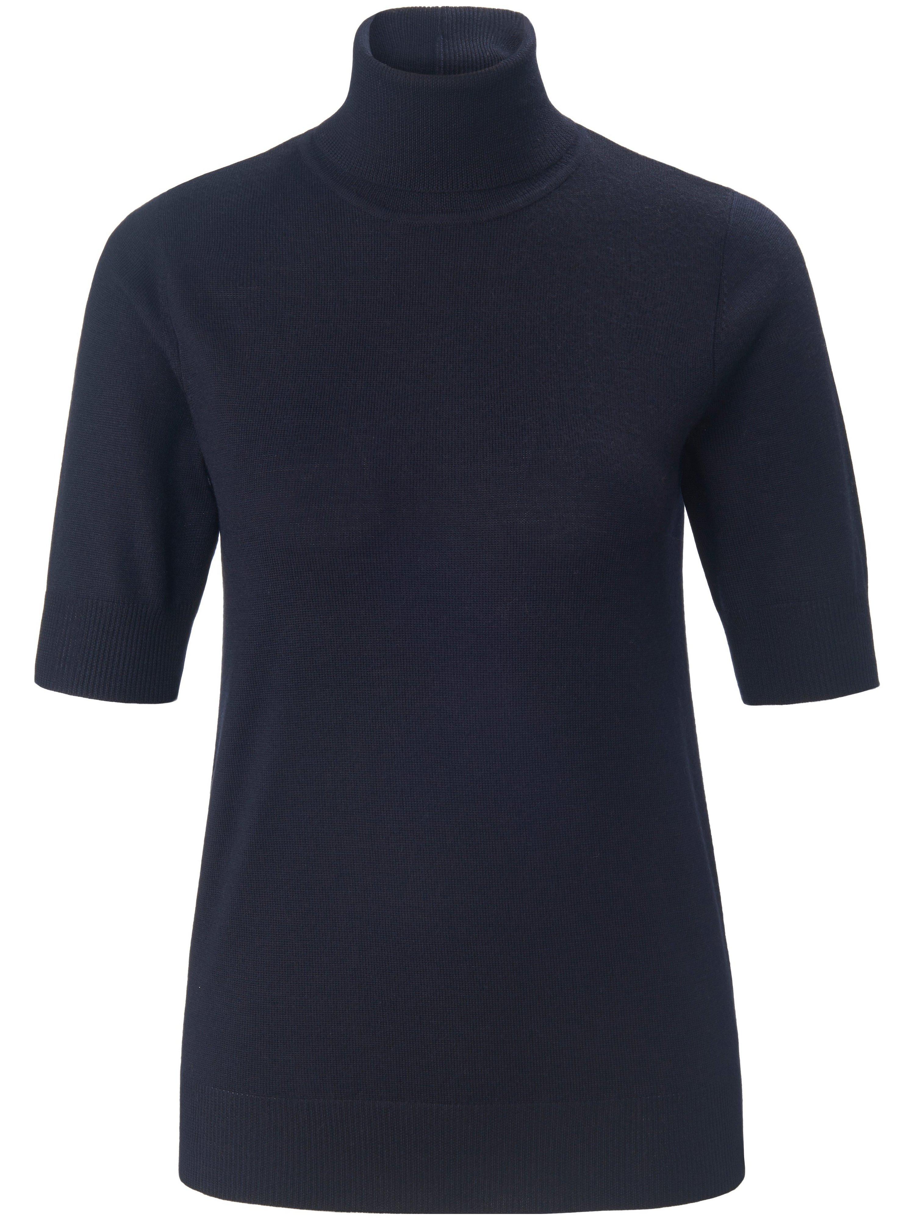 Roll-neck jumper short sleeves Peter Hahn blue