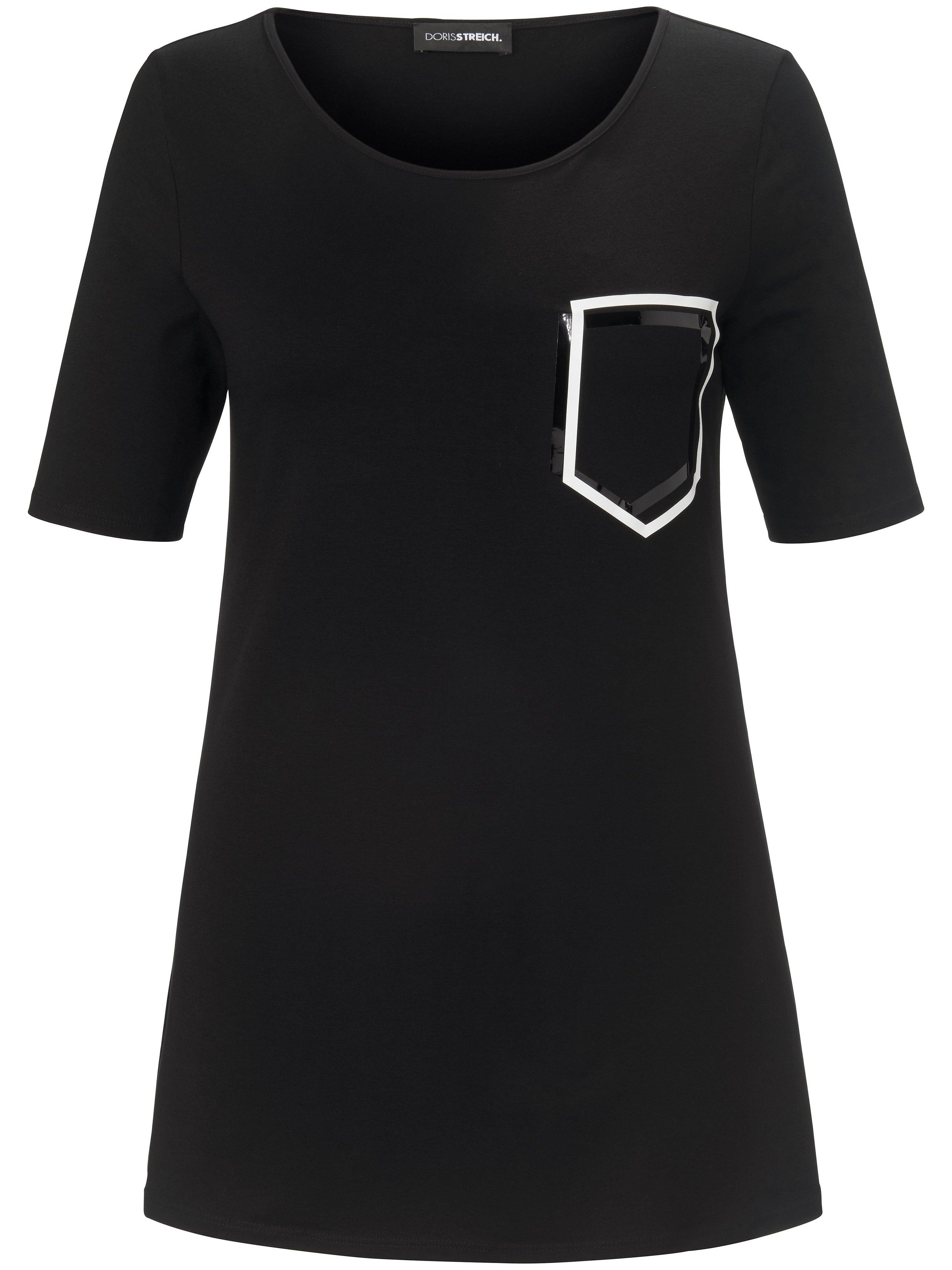 Lang shirt in A-lijn korte mouwen Van Doris Streich zwart