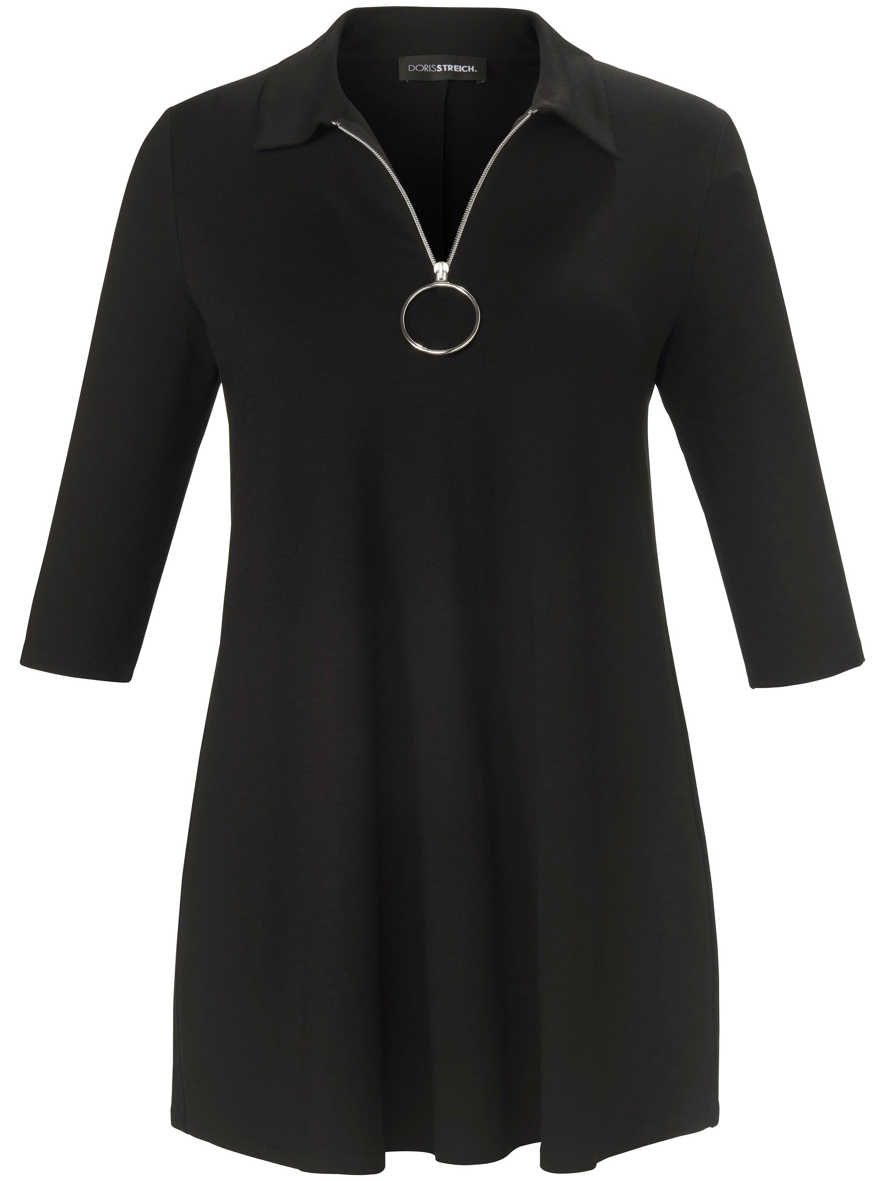 Lang shirt in A-lijn 3/4-mouwen Van Doris Streich zwart