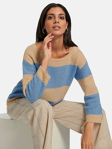 Lanius - Round neck jumper with 3/4-length sleeves