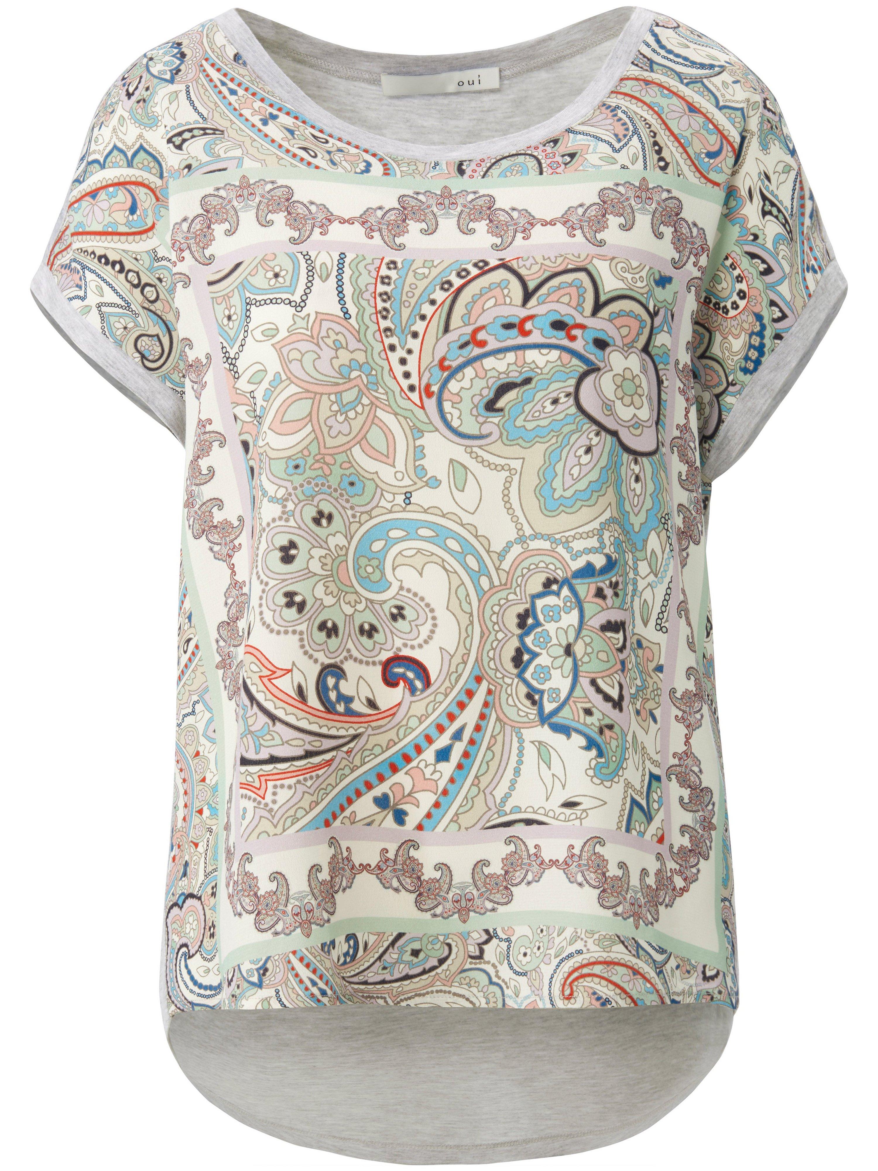 Round neck top ornamental print oui multicoloured