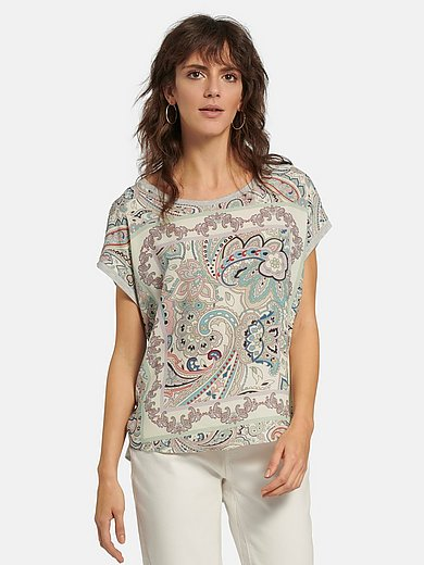 oui - Round neck top with ornamental print