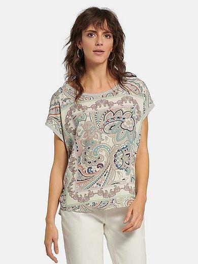 oui - Shirt met ronde hals en aangeknipte korte mouwen
