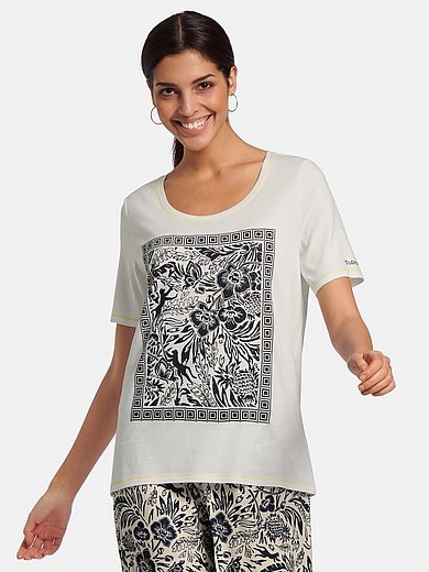 oui - Round neck top with floral print