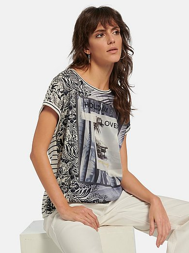 oui - Round neck top with drop shoulder