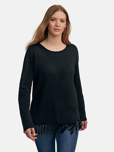 FLUFFY EARS - Round neck jumper with fringes at the hem