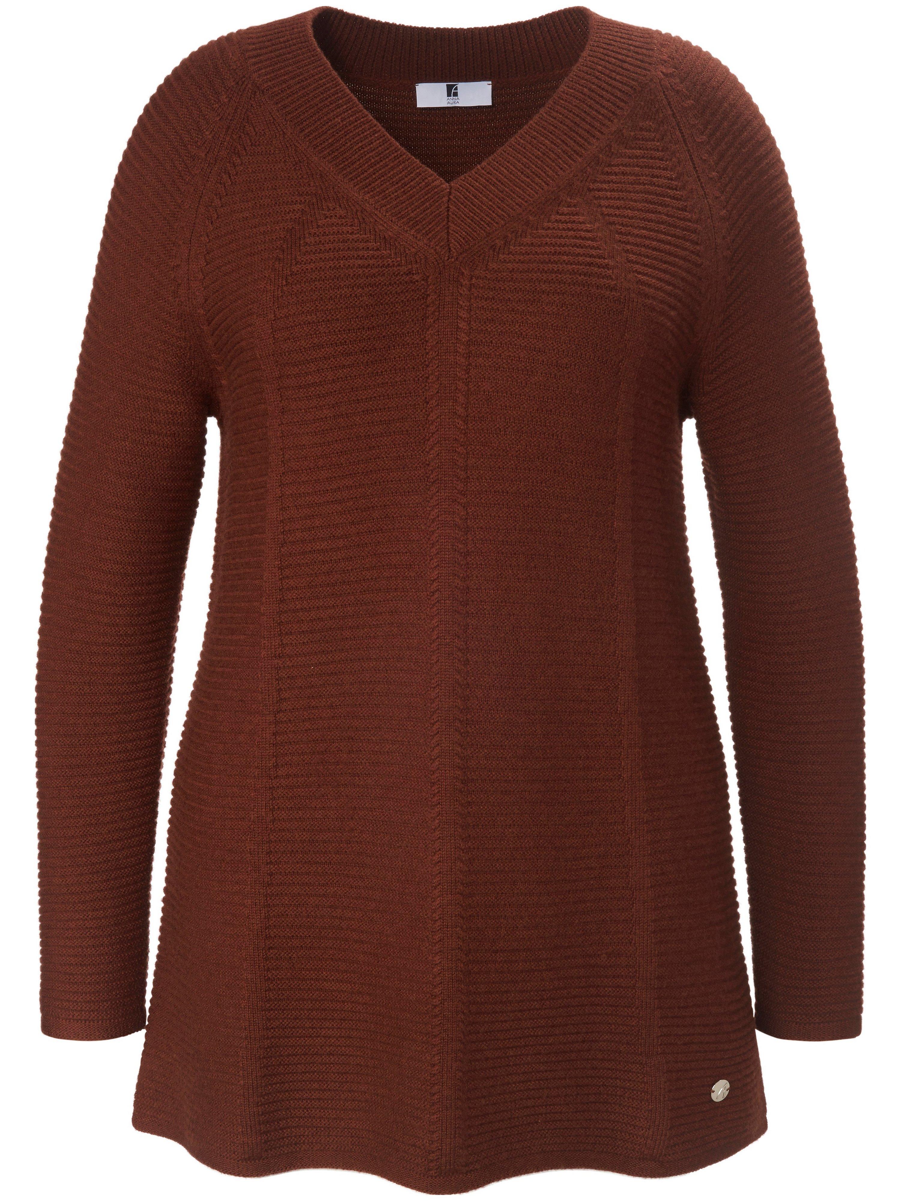 Le pull 100% laine vierge  Anna Aura marron taille 54