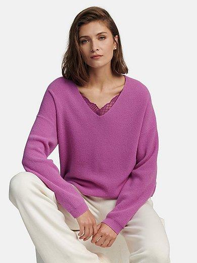 Lanius - V-neck jumper in 100% cashmere