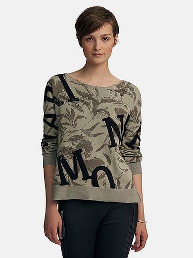 Monari - Round neck jumper with floral jacquard pattern