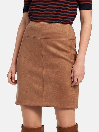 comma, - Skirt made of stretchy faux suede